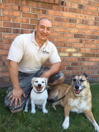 Owner, Russ Vacchetto with Foxy and Rufus